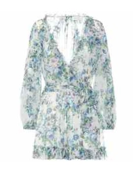 Floral Silk Wrap Playsuit by Zimmermann