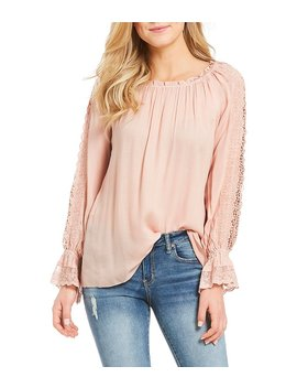 Jessica Simpson Loretta Long Sleeve Bell Cuff Lace Peasant Top by Jessica Simpson