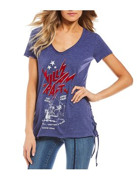 William Rast Carson Lace Up Sides Short Sleeve Graphic Tee by William Rast
