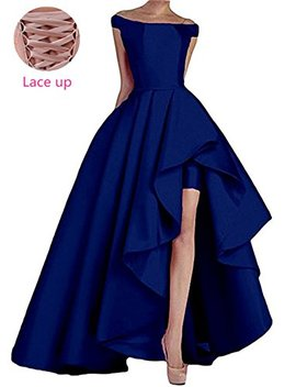 Homdor High Low Off The Shoulder Prom Dresses Long Satin Evening Formal Gowns by Homdor