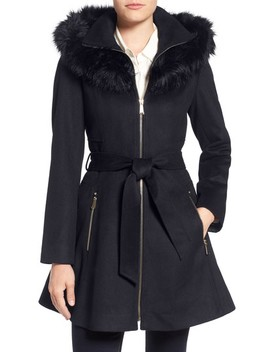 Belted Fit & Flare Coat With Faux Fur Trim by Laundry By Shelli Segal