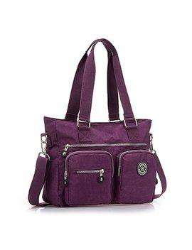 Ecokaki(Tm) Waterproof Fashion Handbag Shoulder Messenger Bag Multi Pocket Travel Organizer Tote Crossbody Bag, Purple by Ecokaki