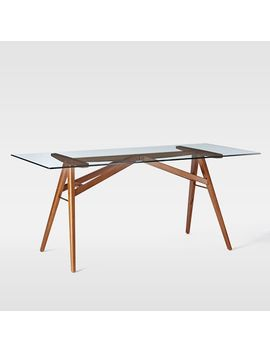 "Jensen Table Bom 76""Glass/Walnut by West Elm"