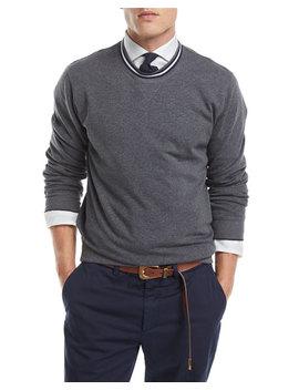 Contrast Trim Crewneck Sweater by Brunello Cucinelli
