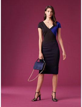 Short Sleeve V Neck Banded Dress by Dvf
