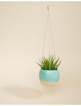 Sass & Belle Turquoise Dip Glaze Hanging Planter by Sass & Belle
