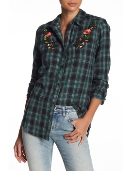 Embroidered Plaid Flannel Shirt by Abound