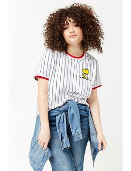 Plus Size Striped Woodstock Graphic Ringer Tee by Forever 21