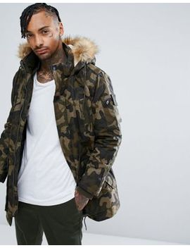 Bershka Parka With Detachable Hood In Khaki Camo by Bershka