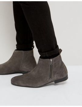 Frank Wright Side Zip Chelsea Boots Charcoal Suede by Frank Wright