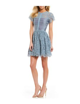 French Connection Shana Spotlight Floral Lace Fit And Flare Dress by French Connection