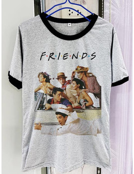 Friends Shirt Us Series Short Sleeve Two Tone White Grey Gray Tee Clothing by Etsy