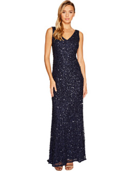 V Neck Crunchy Bead Gown by Adrianna Papell