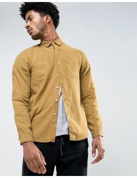 Asos Regular Fit Shirt In Mustard Bleach Washed Tencel by Asos