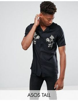 Asos Tall Regular Fit Viscose Shirt With Revere Collar by Asos