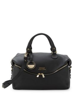 Leather Zip Front Satchel by Versace Collection