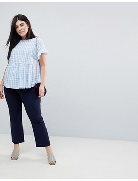 Asos Curve Exclusive Ruffle Smock Top In Gingham by Asos Curve