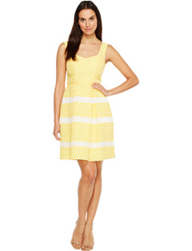 Lemon Drop Jacquard Fit And Flare Sleeveless Dress by Adrianna Papell
