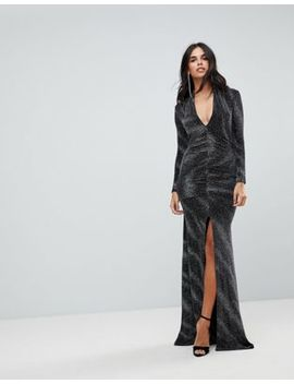 City Goddess Plunge Maxi Dress In Sheer Metallic With Thigh Split by Maxi Dress