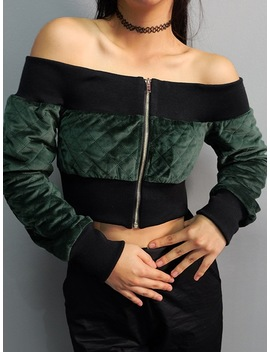 Green Off Shoulder Long Sleeve Cropped Jacket Fashion Zipper Sexy Jacket Velvet Jacket by Izipretty Store