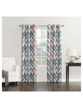 Calen Chevron Printed Thermal Lined Curtain Panel   Sun Zero by No. 918