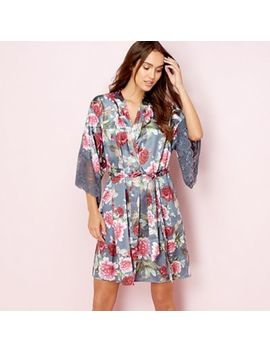 The Collection   Grey Floral Print Satin Dressing Gown by The Collection