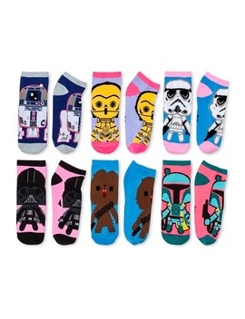 Women's 6 Pair Pk Star Wars Low Cut Socks   Pink 9 11 by Star Wars