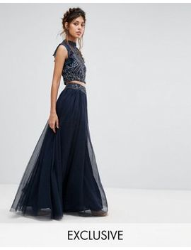 Lace & Beads Tulle Maxi Skirt With Scattered Pearl Embellishment by Lace & Beads