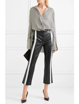 Cropped Striped Leather Flared Pants by Mugler