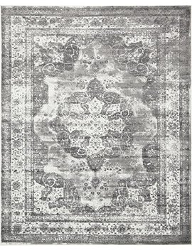 Traditional Persian Vintage Design Rug Gray Rug Black 8' X 10' Ft (305cm X 244cm) Sofia Area Rug Inspired Overdyed Distressed Fancy by A2 Z Rug