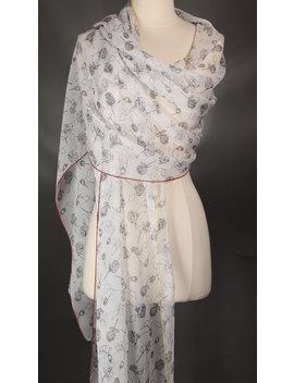 White Scarf Silk Scarf Black Chiffon Scarf Handmade Scarf Floral Pattern Scarf Neck Scarf Shoulder Wrap Fashion Scarves Summer Scarf by Etsy