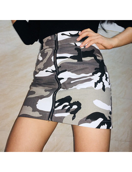 Ootn Pencil Skirt Women Camouflage High Waist 2018 Summer Spring Military Skirts Female Zipper Empire Sexy Beach Clothing by Ootn Store