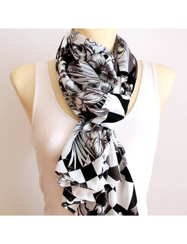 White Fashion Scarf Women Scarf Black White Scarf Satin Scarf Large White Scarf Personalized Gift For Women Bridal Accessories Valentines by Etsy