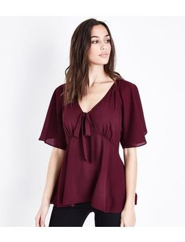 Burgundy Tie Front Angel Sleeve Blouse by New Look