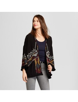 Women's Embroidered Fringe Kimono Jacket   Knox Rose™ Black by Knox Rose™