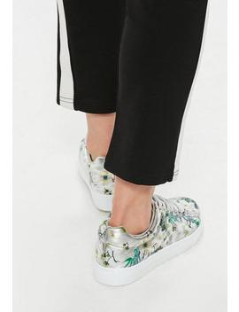 Silver Metallic Floral Lace Up Sneakers by Missguided