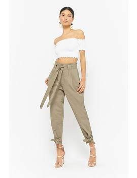 Belted Paperbag Pants by Forever 21