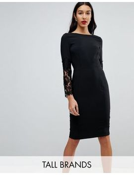 Paper Dolls Tall Lace Sleeve Pencil Dress by Paper Dolls Tall