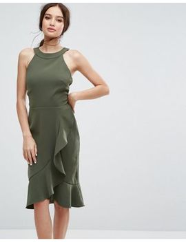 Paper Dolls High Neck Midi Dress With Frill Detail by Paper Dolls