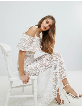 Jarlo All Over Embroidered Lace Maxi Dress With Tie Shoulder Detail by Jarlo
