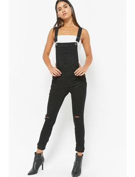 Distressed Stretch Denim Overalls by Forever 21