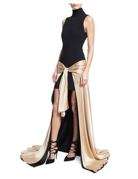 Thea Turtleneck Tie Waist High Low Gown, Black/Nude by Cinq A Sept