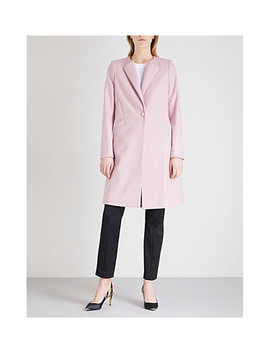 Collarless Wool Blend Coat by Ted Baker