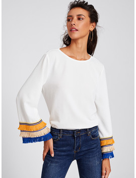 Embroidery Tape And Fringe Bell Sleeve Textured Blouse by Shein