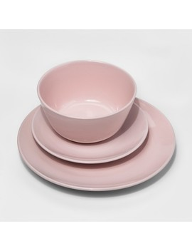 Stoneware 12pc Dinnerware Set Charming Pink   Room Essentials™ by Room Essentials™