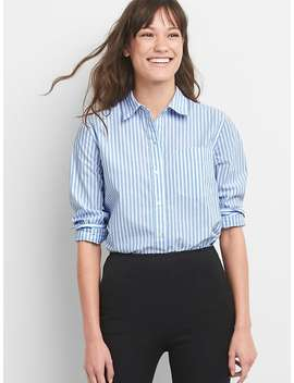 Boyfriend Stripe Shirt In Poplin by Gap