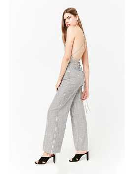 Striped Linen Blend Jumpsuit by Forever 21