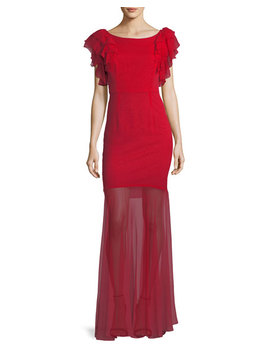 Jennie Ruffle Sleeve Sheer Skirt Gown by Milly