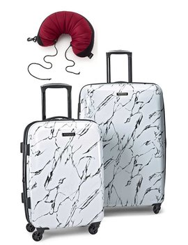 American Tourister Moonlight 2 Piece Spinner Set 21 And 24 With Travel Pillow by American Tourister