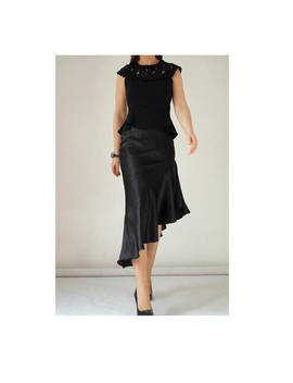 Satin Ruffle Skirt, Asymmetric, Elastic Waist, Cut On The Bias, T Length, Fit And Flare, Disco Style by Etsy